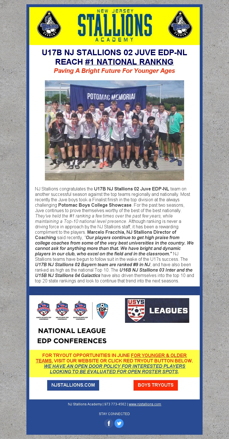 U17B JUVE EDP-NL NOW RANKED #1 NATIONALLY! - Paving Bright